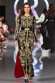 Black And Gold Brocade Maxi Dress - DIOR BELLA