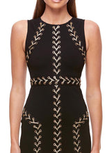 Black And Gold Bandage Midi Dress