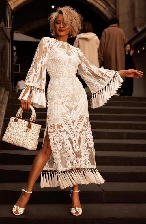 White Sequins Fringe Bandage Midi Dress