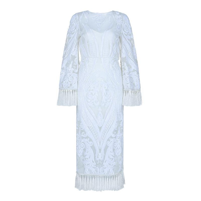 White Sequins Fringe Bandage Midi Dress - DIOR BELLA