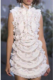 Ruffles And More Ruffles White Mini Dress - DIOR BELLA