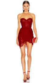 Red Lace Corset Asymmetrical MiniDress