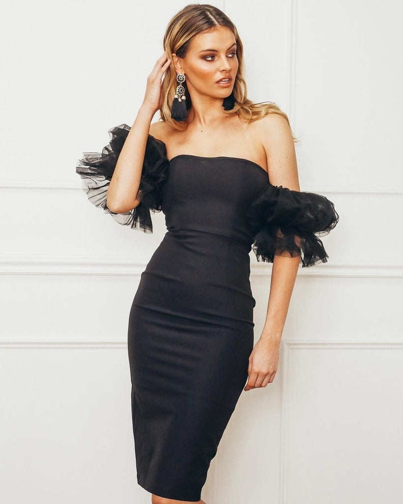Black Off Shoulder Tulle Bandage  Midi Dress - DIOR BELLA