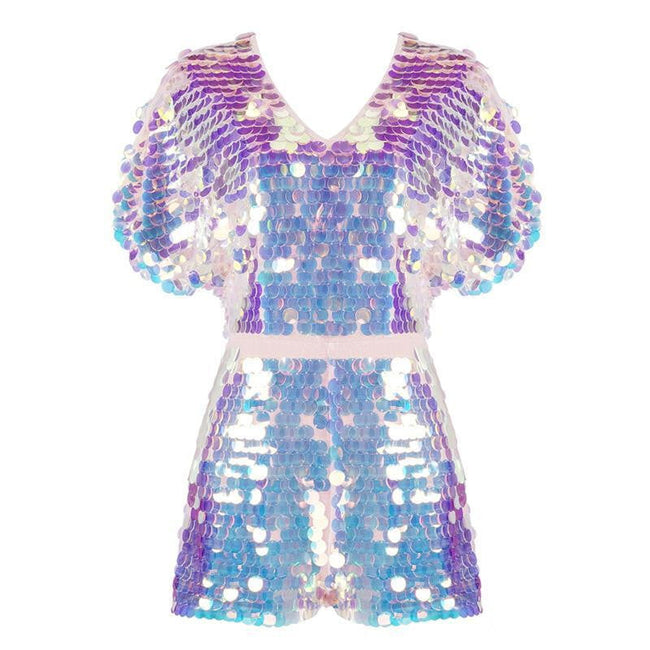 Blue Multi Sequins Playsuit Romper - DIOR BELLA