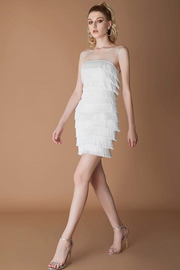 Shake And Roll White Fringe Bandage Dress - DIOR BELLA