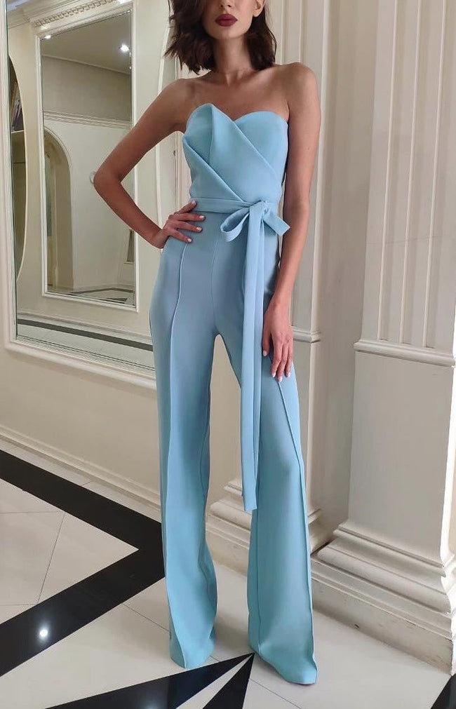 Light Blue Origami Strapless Jumpsuit - DIOR BELLA