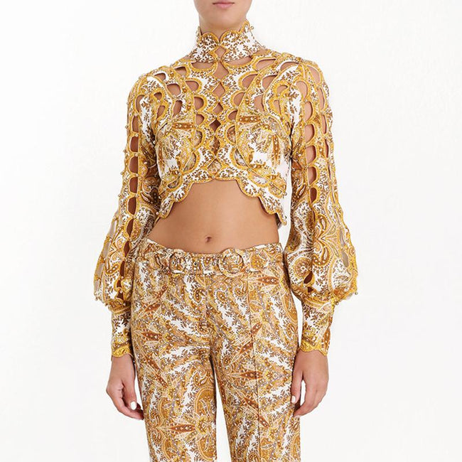 Yellow Floral Beaded Puff Sleeve Crop Top Blouse - DIOR BELLA