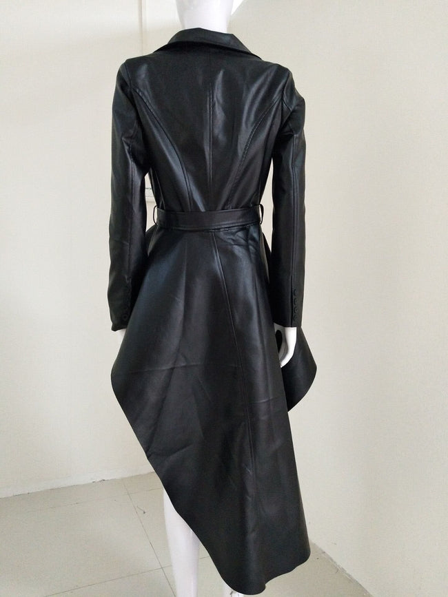 Black Vegan Leather Asymmetrical Peplum Blazer Jacket - DIOR BELLA