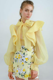 Yellow Chiffon Ruffle Long Sleeve Blouse - DIOR BELLA