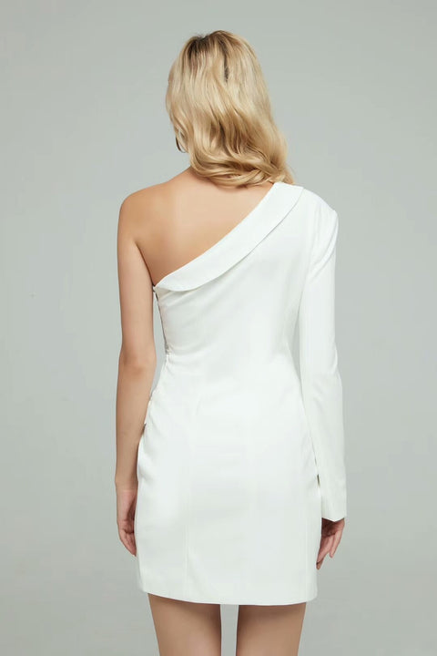 White One Shoulder Sequins Blazer Dress - DIOR BELLA