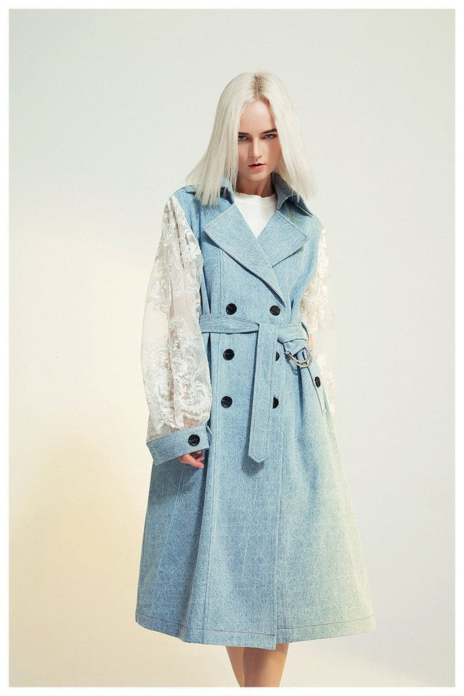 Lace And Blue Denim Jacket Coat - DIOR BELLA