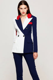 Navy Blue And Red Colour Block Pantsuit