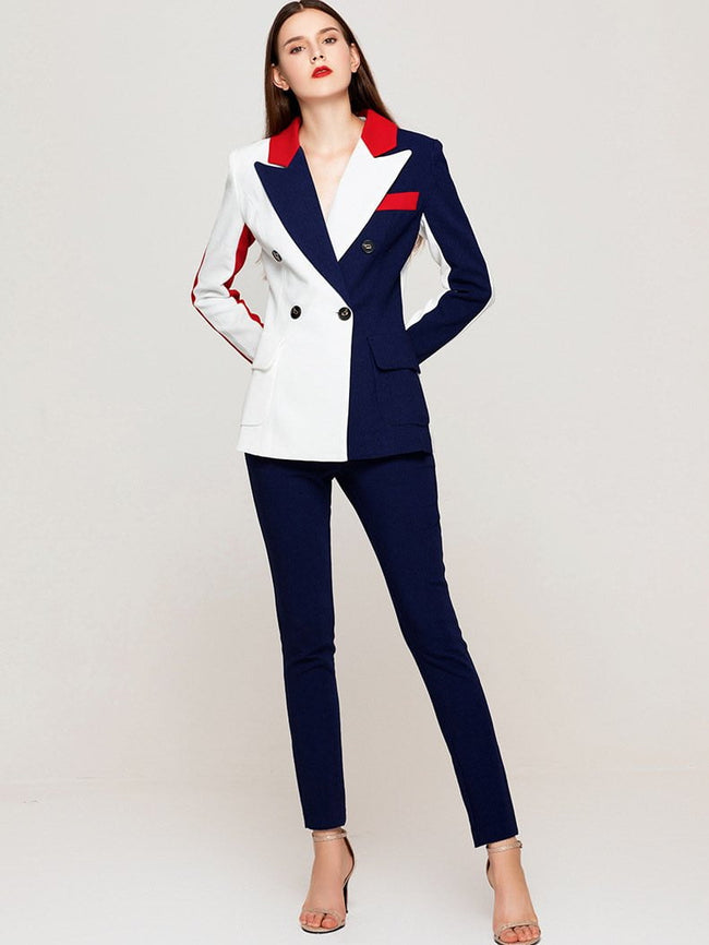 Navy Blue And Red Colour Block Pantsuit - DIOR BELLA