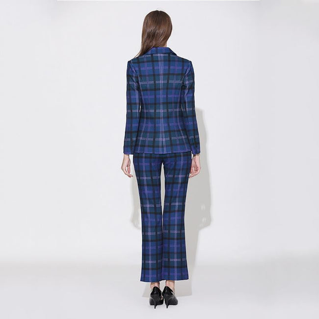 Blue Plaid Double Breasted Pantsuit