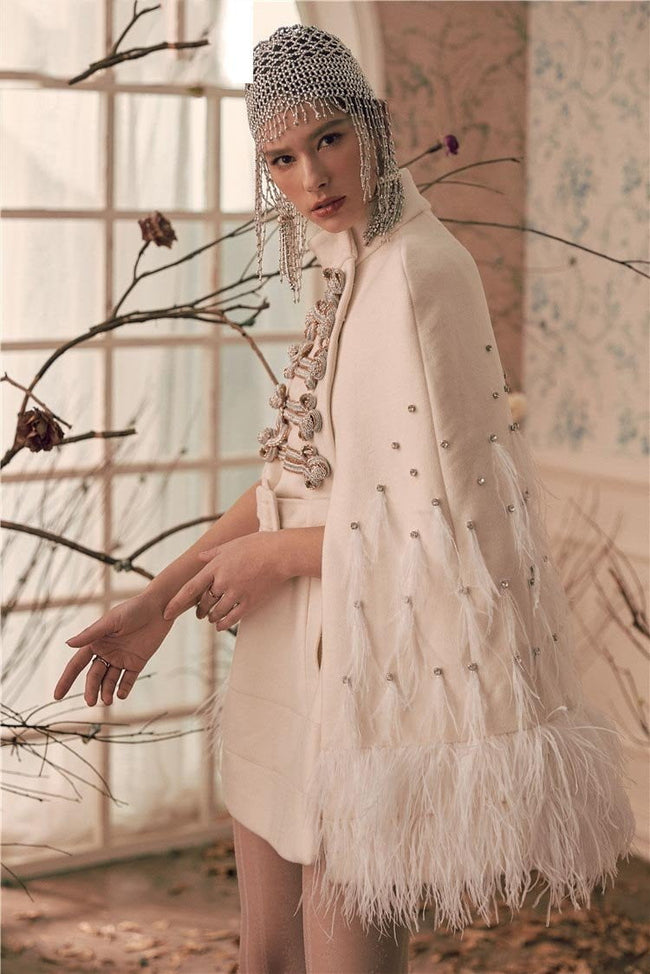 Devon Winter White Beaded Jacket Coat