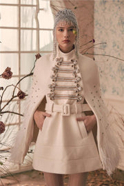 Devon Winter White Beaded Jacket Coat - DIOR BELLA