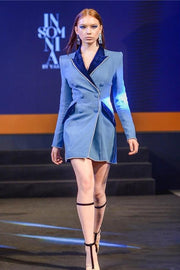 Blue Denim And Velvet  Double Breasted Blazer Mini Dress - DIOR BELLA
