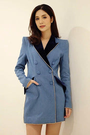 Blue Denim And VelvetDouble Breasted Blazer Mini Dress - DIOR BELLA