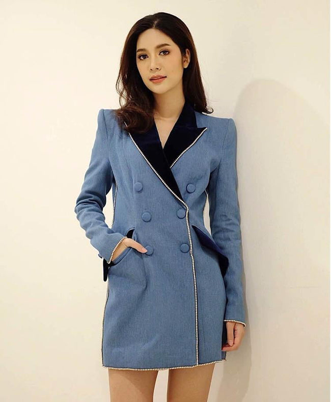Blue Denim And Velvet  Double Breasted Blazer Mini Dress