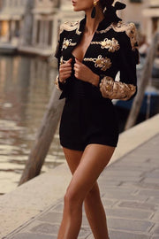 Black Beaded Tassel Crop Blazer Jacket