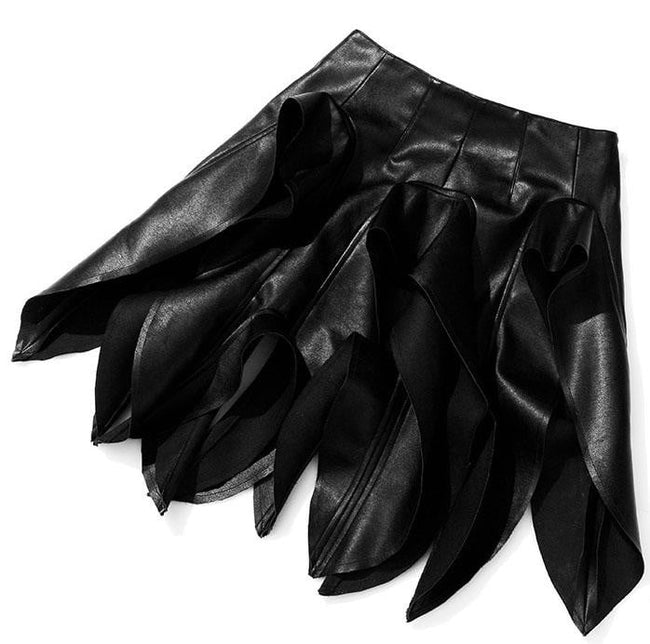 Black Vegan Leather Ruffle Skirt - DIOR BELLA