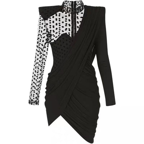 Black Asymmetric Draped Swiss Dot Mini Dress - DIOR BELLA