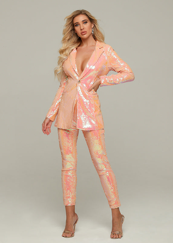 Pink Sequins Pants and Jacket Pant Suit