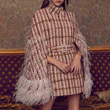 Devon Pink Plaid Beaded Cape Jacket Coat