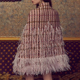 Devon Pink Plaid Beaded Cape Jacket Coat - DIOR BELLA