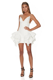 White Ruffled Peplum Bodycon Mini Dress