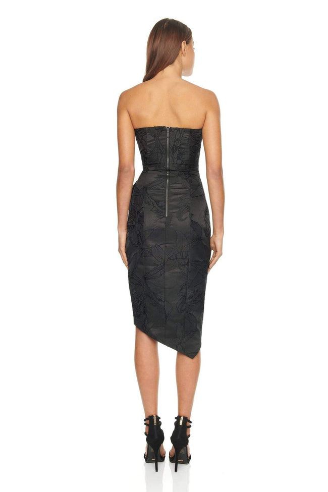 Black Structured Ruffle Zipper Midi Dress - DIOR BELLA