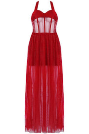 Red Tulle Halter Bandage Midi Dress