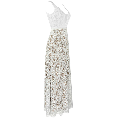 White Lace V-Neck Bridal Gown - DIOR BELLA