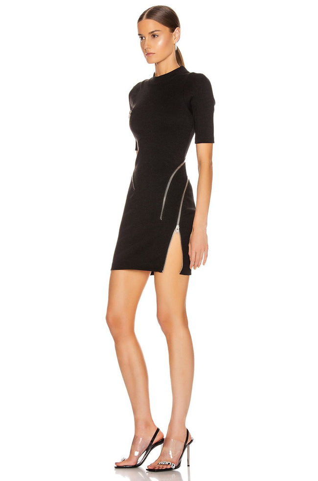 Black Mock Neck Zipper Mini Dress - DIOR BELLA