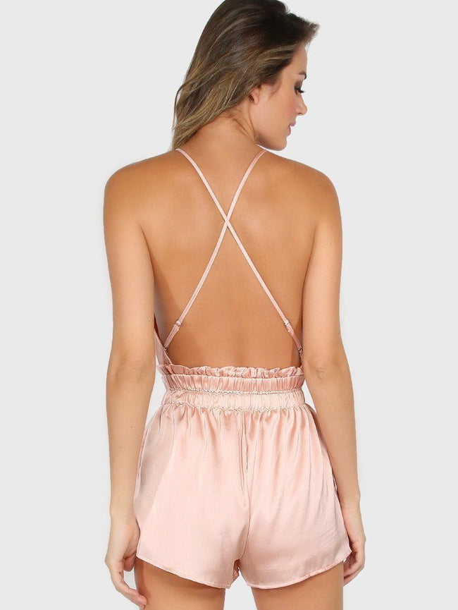 Pink Satin Low Open Back Romper - DIOR BELLA