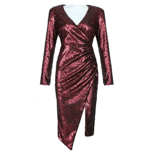 Burgundy Sequins V- Neck Asymmetrical Cocktail Dress - DIOR BELLA