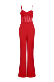 Red Corset Jumpsuit And Blazer Set - DIOR BELLA