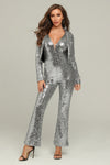 Silver Sequins Halter Jumpsuit And Jacket Set