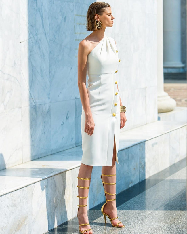 White One Shoulder Cocktail Midi Dress - DIOR BELLA