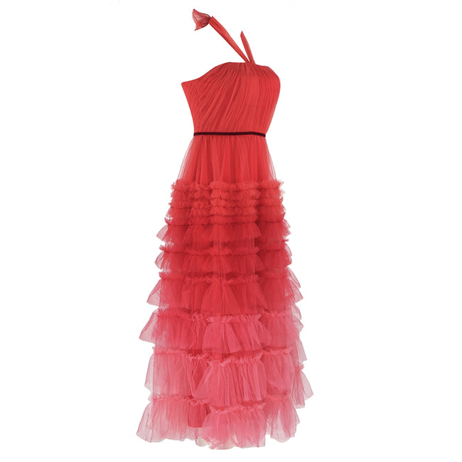 Red Ombre Halter Tulle Ruffled Midi Dress