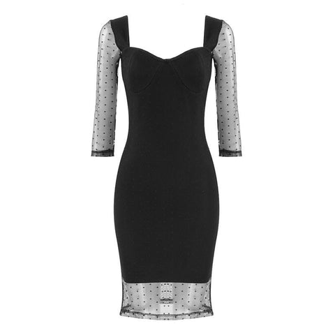 Black Bandage And Lace Cocktail Mini Dress - DIOR BELLA