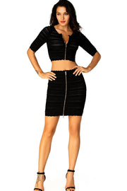 Nora Black Bandage Crop Top And Skirt Suit