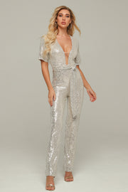 Silver Sequins Short Sleeve Jumpsuit