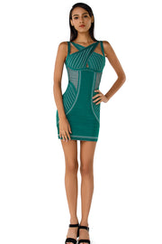 Cutout Shoulder Teal Bandage Mini Dress