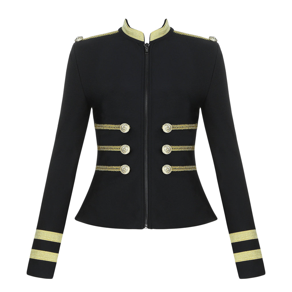 Black Bandage Crop Blazer Jacket - DIOR BELLA