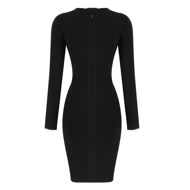 Black V-Neck Beaded Long Sleeve Bodycon Dress - DIOR BELLA