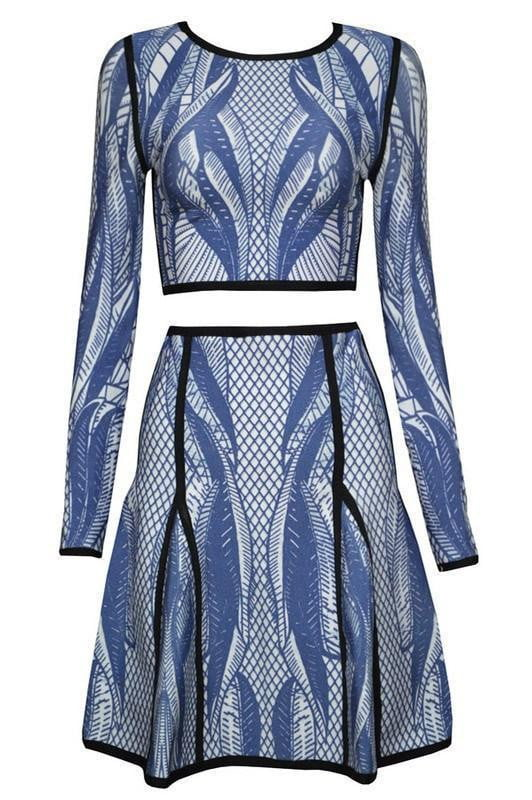 Palm Blue Multi Bandage Skirt Set - DIOR BELLA