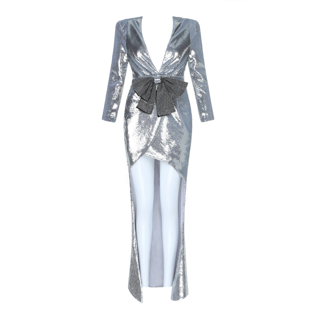 Silver Bow High Low Dress