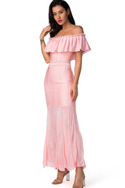 Pink Ruffled Off Shoulder Bodycon Maxi Dress