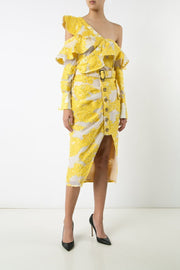 Yellow Embroidered Lace Midi Skirt - DIOR BELLA